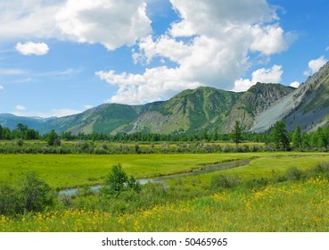 Siberia. Altai. View on green valley. Green mountains, blue sky, yellow flowers, calm small river