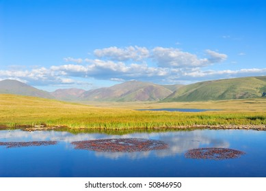 Siberia. Altai. View on green valley. Green mountains, blue sky, yellow grass, calm blue water of a small lake with islands of red flowers