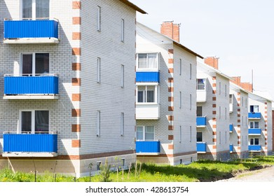 Siberia, Novosibirsk region, Berdsk city, modern low-rise brick buildings