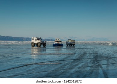 Siberia, Russia 03.21.2015 All-terrain vehicles on the ice of Baikal in winter.