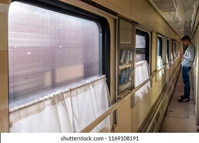 SIBERIA, RUSSIA, MARCH 18, 2018: Trans Siberian Train compartment view. Siberia.Russia.