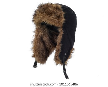 Siberian faux fur hat, isolated on white background. Almost straight side view, showing the interior. Ear cover down.