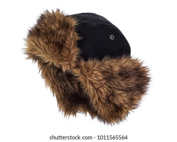 Siberian faux fur hat, isolated on white background. Almost straight side view, showing the interior. Ear covers up.