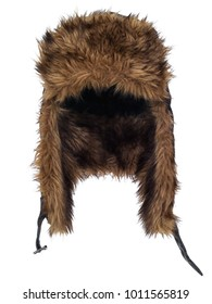 Siberian faux fur hat, isolated on white background. Front view, showing the interior. Ear covers down.