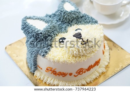 Siberian Husky Birthday Cakes With Flowers And Afternoon Tea Set On White Background
