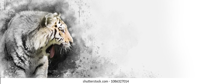 Siberian tiger mixed media digital painting in black and white with a touch of subtle colour. Horizontal banner in popular social media proportions. Space for your text.