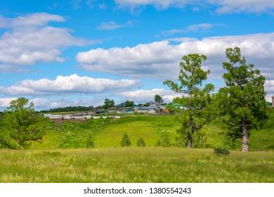 Siberian village Litvinovo in high summer, Kemerovo region