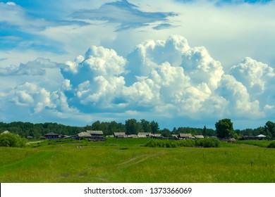 Siberian village Ust-Sosnovka in high summer, Kemerovo region