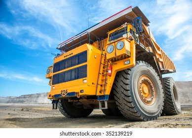 Siberia,Russia - July, 2015: Big yellow mining truck.