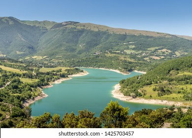 The Sibillini Mountain National Park, Lake Fiastra, Marche Region, Italy