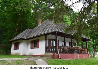 Sibiu, 26-May-2018. Old peasant house, at the Astra museum of traditional folk civilization, the largest open air museum in Romania. Sibiu, Transylvania, Romania, Europe.