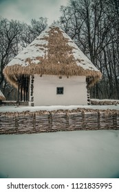 Sibiu, 28.01.2016. Old peasant house, at the Astra museum of traditional folk civilization, the largest open air museum in Romania. Sibiu, Transylvania, Romania, Europe.