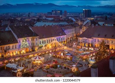 Sibiu Christmas market aerial view