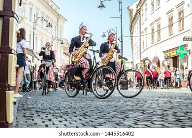 Sibiu City, Romania - 14 June 2019. Crescendo Opende Bicycle Band from Netherlands performing at the Sibiu International Theatre Festival from Sibiu, Romania.