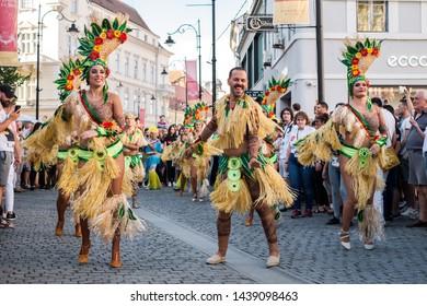 Sibiu City, Romania - 22 June 2019. The Comparsa Los Cariocas from Gran Canary islands performing at the Sibiu International Theatre Festival from Sibiu, Romania.