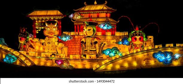 Sibiu City, Romania - 23 June 2019. The Lantern Festival a centuries-old Chinese tradition will illuminate the ASTRA Museum at the Sibiu International Theatre Festival from Sibiu, Romania.
