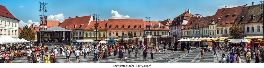Sibiu City, Romania - 25 August 2019. Panoramic view of the Big Square from Sibiu during the anual Medieval Festival 2019