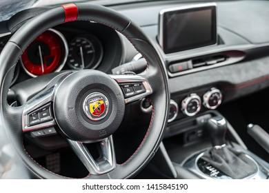 Sibiu City, Romania - 25 May 2019. inside view of the modern Abarth car board