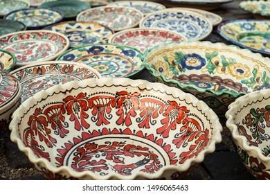Sibiu City, Romania - 31 August 2019. Traditional Romanian handmade ceramics market at the potters fair from Sibiu, Romania