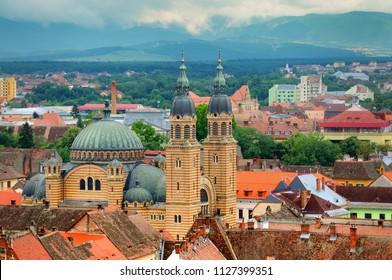 Sibiu cityscape with Holy Trinity Cathedral in Transylvania, Romania