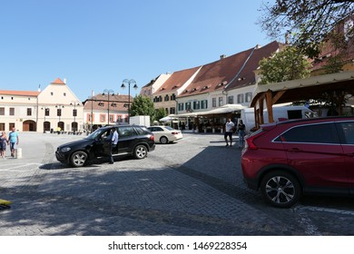 Sibiu, Sibiu county, Romania - July, 26, 2019: view from the Small Square in Sibiu. Built in the 14th-16th centuries, the Small Square represents the old commercial center of the old city of Sibiu.