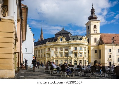 SIBIU - MAY 10: Piata Mare on May 10, 2016 in Sibiu, Romania. Sibiu is one of the most important cultural centres of Romania and was designated the European Capital of Culture for the year 2007.