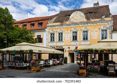 SIBIU - MAY 10: Restaurants on Strada Nicolae Balcescu on May 10, 2016 in Sibiu, Romania. Sibiu is one of the most important cultural centres of Romania.