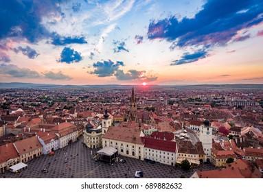 Sibiu panorama in Transylvania Romania
