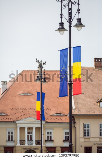 Sibiu Romania 05092019 Romania Flag European Stock Photo Edit Now 1393797980