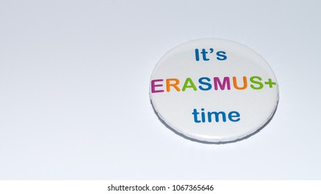 SIBIU, ROMANIA - 17 DECEMBER, 2017: An Erasmus pin encouraging choosing the programme