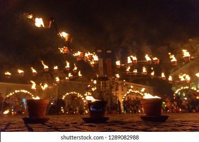 SIBIU, ROMANIA - 9 June 2018: Compagnie Carabosse, French fire alchemists, created a Fire Spectacle at the Sibiu International Theatre Festival 2018.