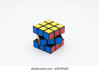SIBIU, ROMANIA, APRIL 29, 2017: Rubik's cube isolated on white background.This puzzle game was invented by a Hungarian architect Erno Rubik in 1974.