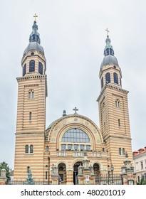 SIBIU, ROMANIA - AUGUST 10, 2016: The Holy Trinity Cathedral (Catedrala Sfanta Treime).