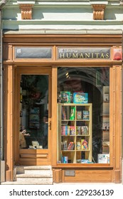SIBIU, ROMANIA - AUGUST 21, 2014: Humanitas Library is an independent Romanian publishing house, founded on February 1, 1990 in Bucharest by the philosopher Gabriel Liiceanu.