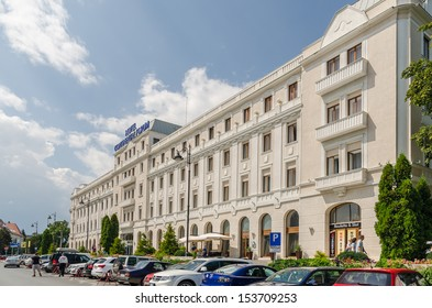 SIBIU, ROMANIA - AUGUST 26: Hotel Continental on August 26, 2013 in Sibiu, Romania. It is a four stars hotel building located downtown Sibiu and has 13 floors and a surface of 16,000 sqm.