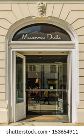 SIBIU, ROMANIA - AUGUST 26: Massimo Dutti Store on August 26, 2013 in Sibiu, Romania. Created in 1985 it is a Spanish company belonging to the Inditex group dedicated to the manufacturing of clothing.