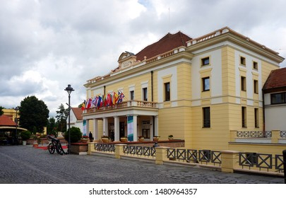 SIBIU, ROMANIA - AUGUST 3, 2019: The Sibiu State Philharmonics - Thalia Concert Hall was built between 1787 and 1788. It was Romania's first theatre.
