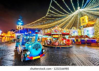 Sibiu, Romania - Christmas Market, largest in Romania, Transylvania landmark.
