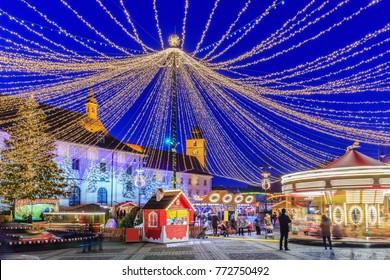 Sibiu, Romania.  Christmas Market at twilight. Transylvania, Romania.