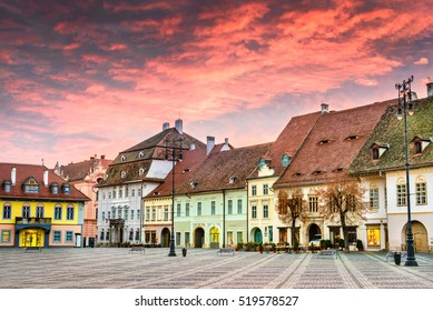 Sibiu, Romania. Colorful clouds on sunrise, Large Square in Sibiu, Transylvania.