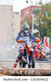 SIBIU, ROMANIA - JULY 28: Unknown competitor in Red Bull ROMANIACS Hard Enduro Rally . The hardest enduro rally in the world. 24th to 28th  July 2018 in Sibiu, Romania