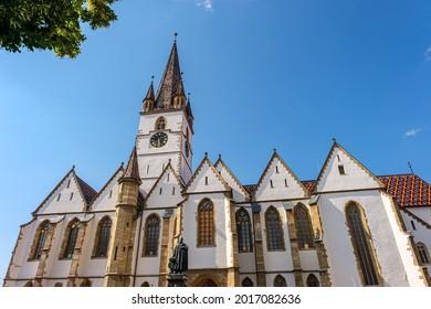 Sibiu, Romania - July 29, 2021 Saint Mary Lutheran Cathedral in Sibiu city on blue sky, Romania