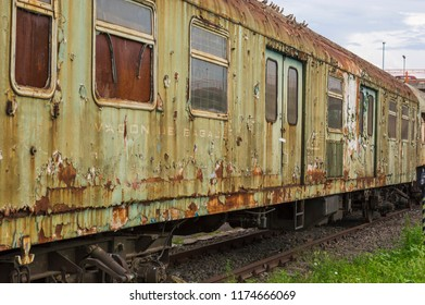 SIBIU, ROMANIA - JULY 30, 2018: old abandoned train waggons at Sibiu railway station