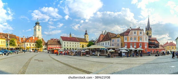 SIBIU, ROMANIA, JULY 6, 2015: view of the Small Square - piata mica, the second fortified square in the medieval Upper town of Sibiu city.