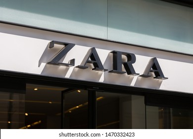 SIBIU, ROMANIA - June 27, 2019: Close up of Zara writing / sign. Zara is a spanish fast fashion retailer. It is the main brand of Inditex group and was founded in 1975. Clothing, accessories, fashion.