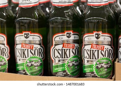 """SIBIU, ROMANIA - June 27, 2019: Close up of """"Csiki Sör"""" beer bottles (Csiki = hungarian name of a town in Romania). Not to be confused with """"Ciuc Premium"""" (Ciuc = romanian name of the same town)."""