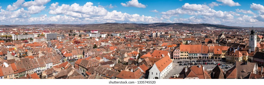 Sibiu, Romania - March 09, 2019. Aerial view from Saint Mary Lutheran Cathedral in Sibiu city in Romania