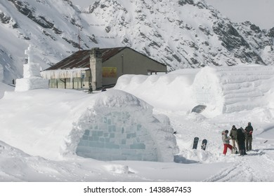 SIBIU, ROMANIA - March 13, 2010: Group of people at Ice hotel, Balea lake, Fagaras mountains.