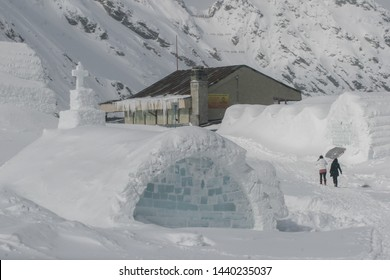 SIBIU, ROMANIA - March 13, 2010: Ice hotel, Balea lake, Fagaras mountains.
