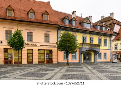 SIBIU, ROMANIA - MAY 31, 2017:  Architecture of old town of Sibiu, one of the most important cultural centres of Romania
